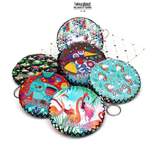 new graffiti flamingo elephant coin purses change purse card holder handmade zero wallets girl clutch zipper coins bag pouch (530445520) photo
