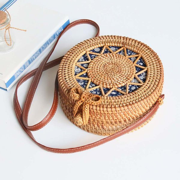 women handwoven round rattan bag handmade straw shoulder bag crossbody purse with handles hollow-carved (491337718) photo