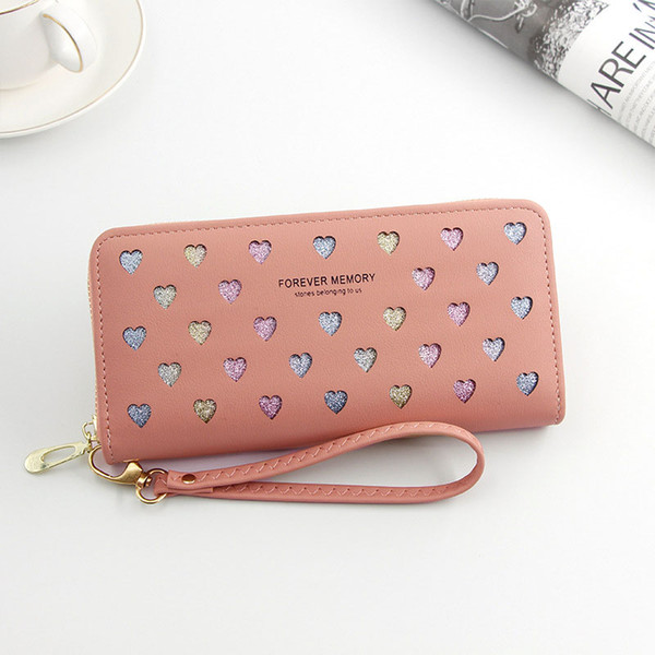 women wallet pu leather purse female long wallet hollow heart pouch handbag for women coin purse card holders bags dropshipping (495479219) photo