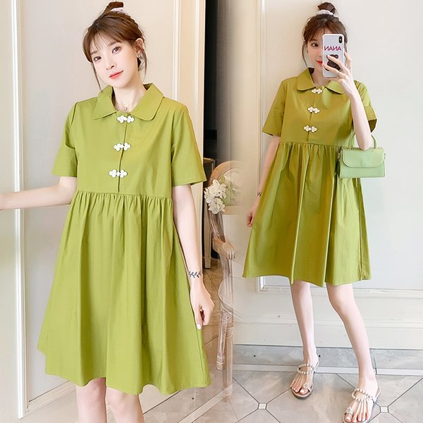 053# Nursing Maternity Clothing Solid Color Loose Stylish Dress for Pregnant Women Pregnancy Nursing Dress