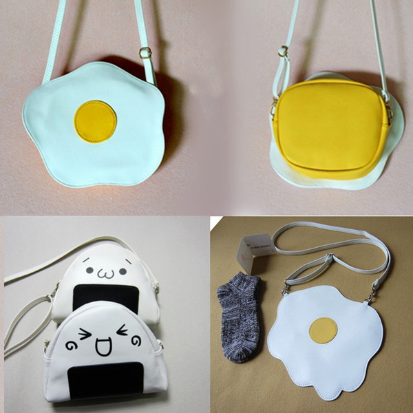 new harajuku girl 3d cartoon lovely poached egg coin purses rice ball messenger bag women's originality toast handbags (483352129) photo