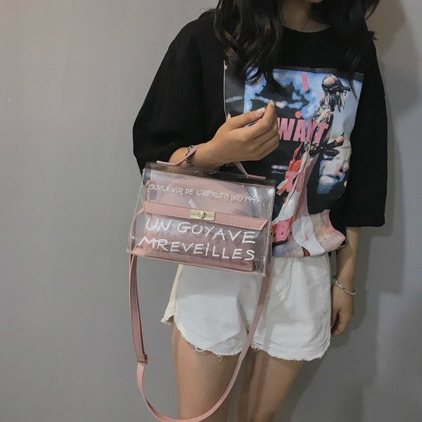 clear transparent pvc fashion shoulder bag clear jelly clutch purse transparent handbag crossbody bags plastic beach (521657524) photo