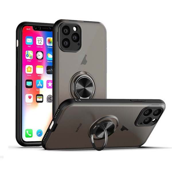 Anti fingerprint matte phone ca e magnetic car ring holder hard pc armor ca e for iphone 11 xr x  max 6 7 8 plu   am ung note 10 note 10 pro