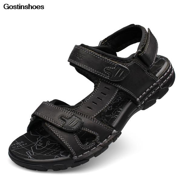 Men Comfortable Anti Collision Toe Genuine Leather Sandals