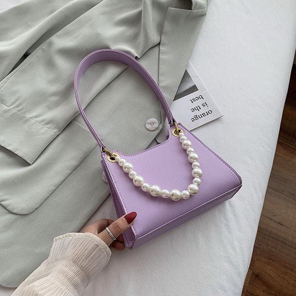 fashion pu leather ladies small shoulder bags vintage beaded chain female purse handbags women daily armpit bag clutch purse (553014034) photo