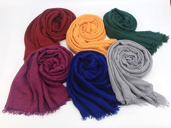 56 цветов Новые Женские шарфы новой дамы морщин осенью и зимой шарф солнцезащитный крем платок свободная перевозка груза 23-45 фото
