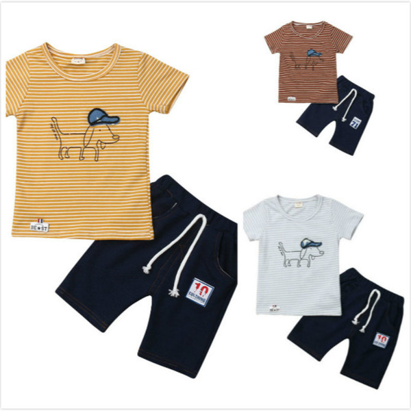 fashion infant newborn baby bibs boy cool casual clothes striped dogs t-shirt+solid pants outfits children leisure clothing set