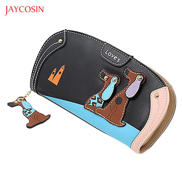 jaycosin cute animal coin purses women cartoon puppy leather long wallets girl money bag multifunction zipper clutch wallet (530124103) photo
