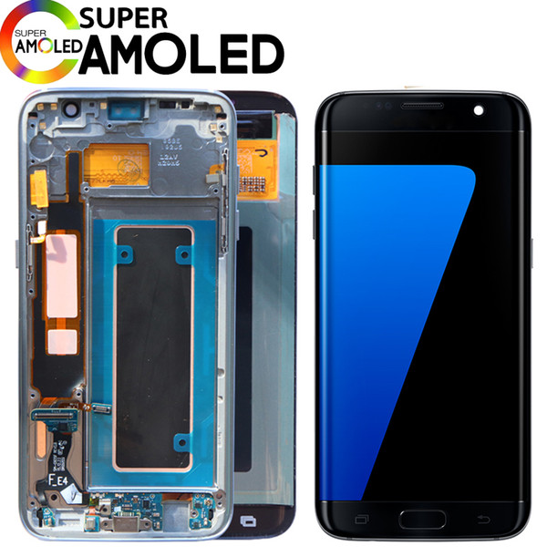 Original burn  hadow 5 5  039   039  lcd with frame for  am ung galaxy  7 edge lcd di play g935 g935f touch  creen digitizer a  embly