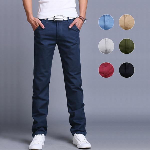 Мужская мода бизнес случайные брюки хлопок тонкие прямые брюки весна-лето длинны