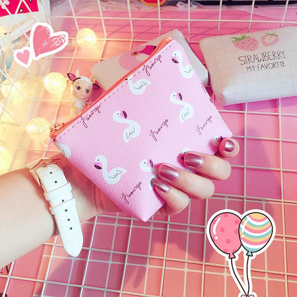 sweet flamingo pu leather coin purses women small wallet ladies change purse child girl pink bird strawberry mini zipper pocket (475743955) photo