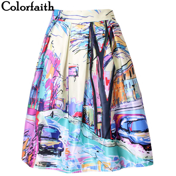 2016 Fashion Satin Women Skirt Summer Vintage Retro Fantasy Scenery Painting Print High Waist Midi Skirt Ball Gown Saia SK056