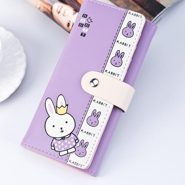 jiulin embroidery rubbit women wallet leather female wallet short coin purse small girl purse slim card holder cute long (498270823) photo