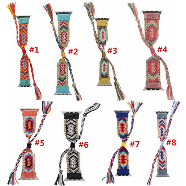 National  tyle bohemian weave leather wri tband for apple watch band 38 40mm 42 44mm  erie  1234 replacement  trap bracelet for iwatch