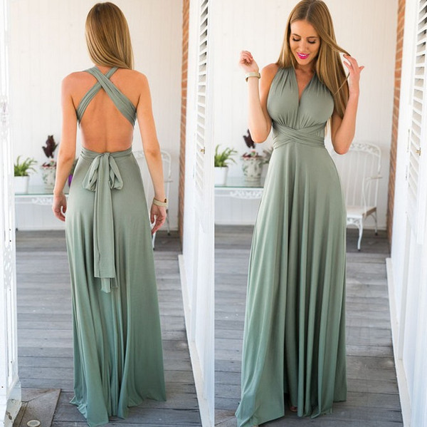 11 color 2016 summer sexy women maxi dress red bandage long dress sexy Multiway Bridesmaids Convertible robe longue femme