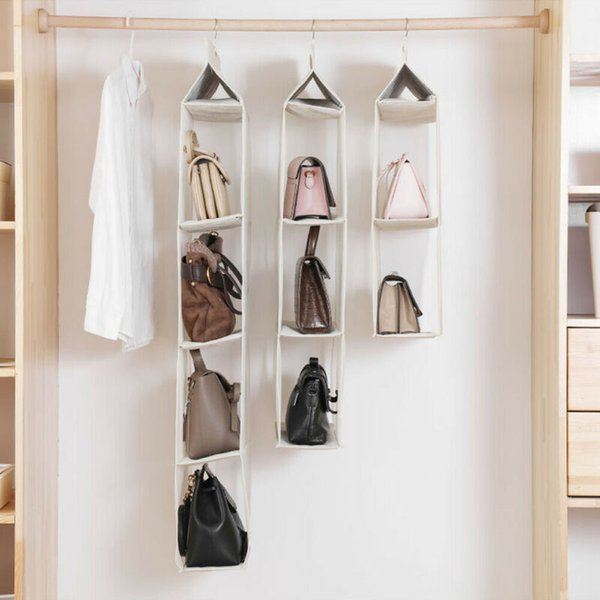2-4 layers hanging purse organizer nonwoven foldable handbag organizer clear mesh pockets dispenser reusable bag (528609228) photo