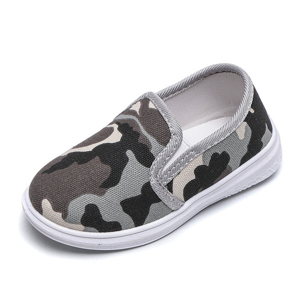 1-8T Kids Shoes Children Sneakers Camouflage Canvas Shoes Boys And Girls Student School Casual Sport Boy green gray