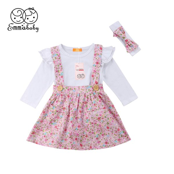 emmababy baby girls arrival spring 3 pcs clothing sets long sleeve pullover solid white  smashed flower strap dress headwear