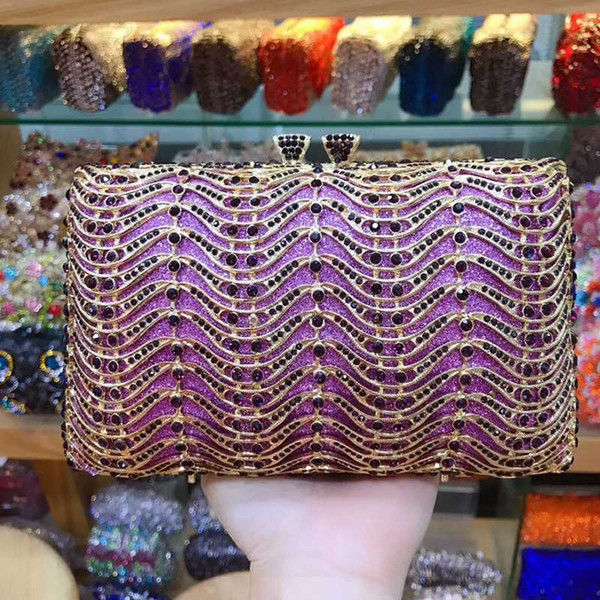 women clutch purple bags and purses wavy shape ladies evening clutches handbags mini party chain purses (525360172) photo