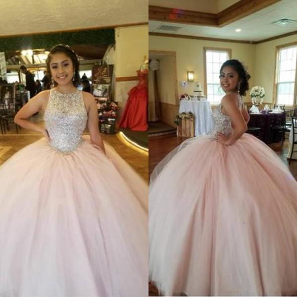 2020 Современные Розовый кристалл Лучшие платья Quinceanera Jewel бальное платье Тюль Vestidos