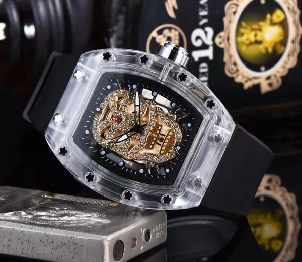 Новый досуг мужчины стиль часы RICHARD Luxury Fashion Skeleton часы Мужчины Женщины Кварцевые ч фото
