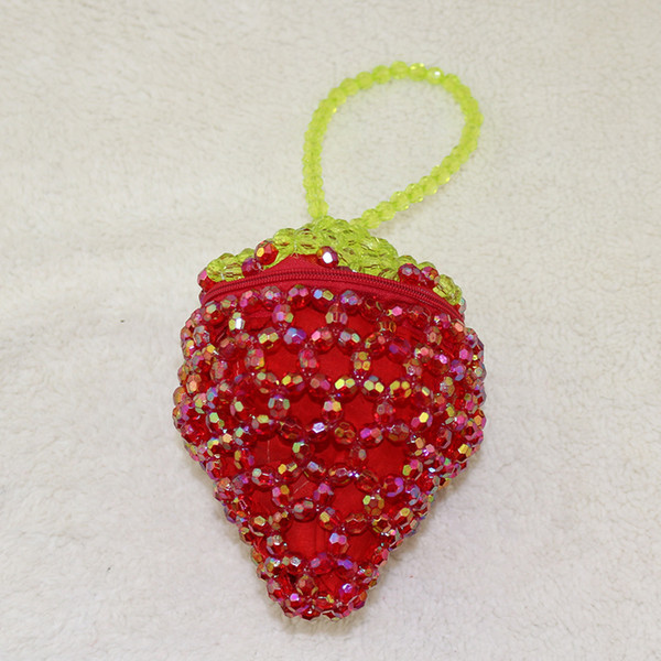 beaded small strawberry bags women fashion fruit coin purses purely handmade pocket leisure essential clutch wallet (447641892) photo