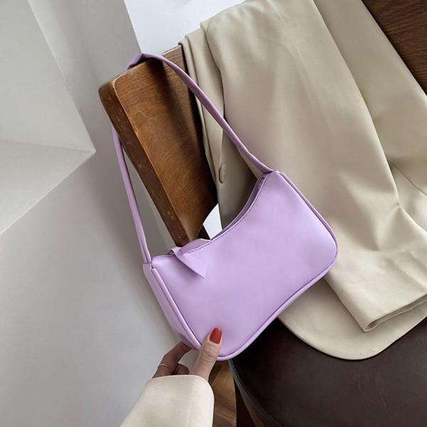 colorful shoulder bag for women pu leather armpit bag french baguette leisure handbags female designer mini lady totes purse (551536621) photo