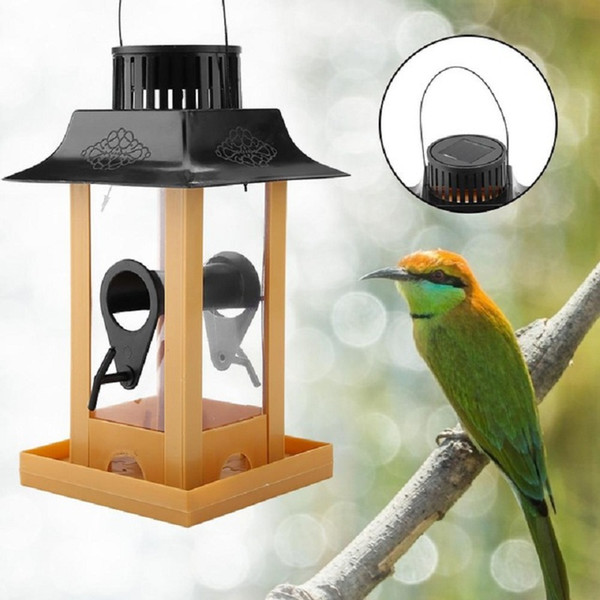 solar parrot feeder led light bird feeder station hanging pigeon crow parrot outdoor balcony bird feeding (460409250) photo