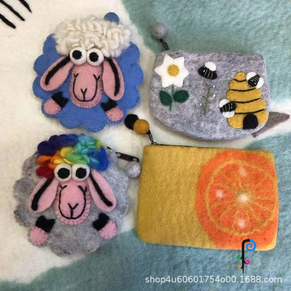 wool felt embroidered purse children girl's purse lamb orange bees multi-- (530434888) photo
