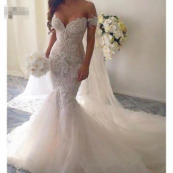 Сексуальные кружева русалка свадебные платья 2019 аппликации возлюбленной с плеча фото