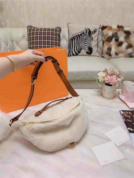 Роскошная дизайнерская поясная сумка женская дизайнерская поясная сумка наклонная сумка для волос ягненка сумка плюшевая мода высокое качество новая осень и Winte4 фото