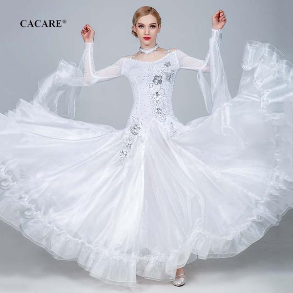 Luxury ballroom dance competition dresses tango waltz dress flamenco standard dance dresses d0800 rhinestones big sheer hem фото