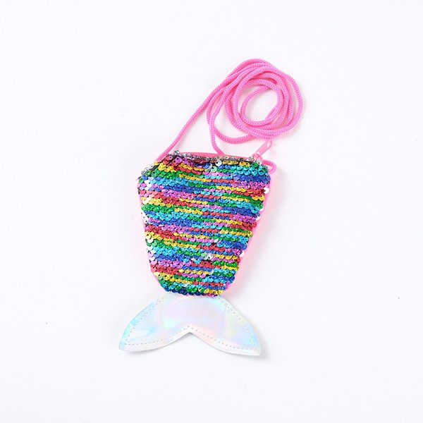 sequined coin purse hanging rope coin purse small child cross small bag fish tail two-color sequined woman (496343404) photo