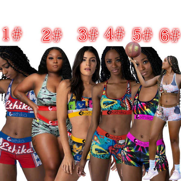 Women Designer Swimsuit Two Piece Set Sleeveless Short Pants International Station Fashion Summer Printing Swimwear Bicycle New Hot 2020
