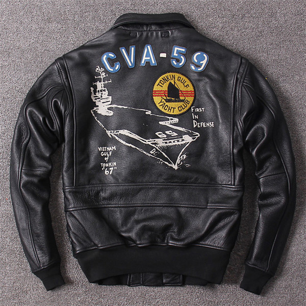Black cow genuine leather bomber jacket ba eball uit pilot leather jacket with pocket flight bomber jacket
