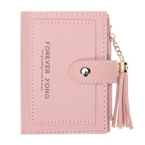 women pu leather wallet girl hasp small wallet purse tassels mini handbag fashion female pink purse coin purse card holde (473133364) photo