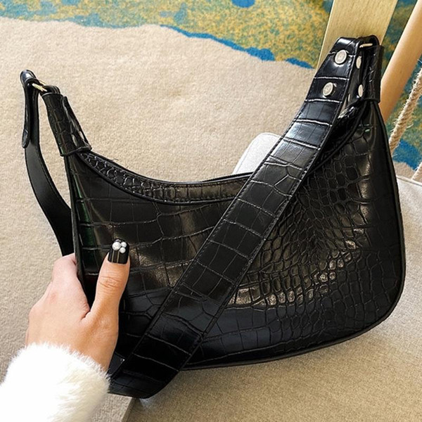 women trend large capacity leather shoulder crossbody bags stone pattern dumplings bag for girl handbag ladies purse bolso mujer (520392513) photo