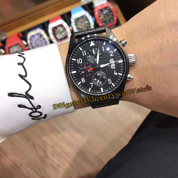 Brand 42mm pilot 039 watche iw378901 day date black dial multifunction automatic men watch black pvd teel ca e leather trap port wat