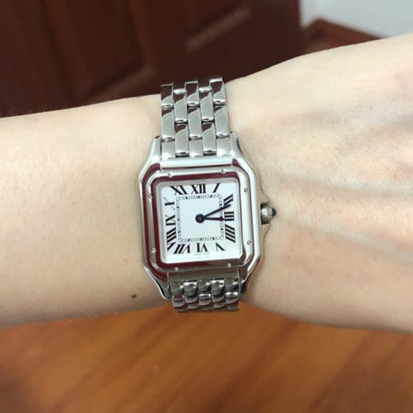 New w pn0006 w pn0007 teel ca e 27mm 22mm white dial wi quartz women watch ladie tainle teel watche