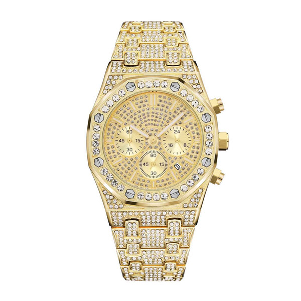 Gold men luxury watch royal oak off hore all ubdial work diamond wacth iced out watche tainle teel men quartz movement chronograph