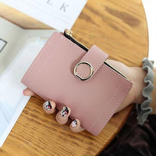 women mini wallet solid cute coin purse bag case leather simple bifold wallet purse /by (520263454) photo