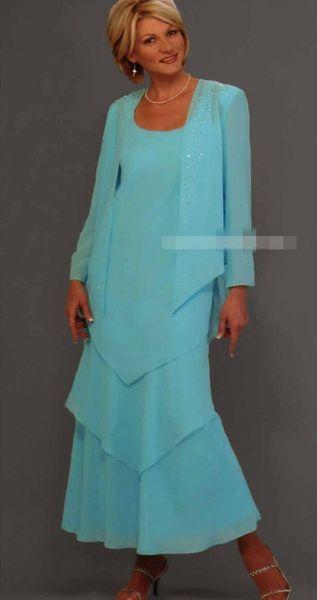 2019 elegant with jacket mother dre e coop neck long leeve floor length for wedding wear formal evening dre e