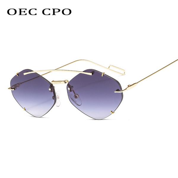 ЭОС CPO дамы Rimless Polygon Солнцезащитные очки Женщины Brand Дизайнер Модные солнцезащитные очки Gradient Женский Candy очки UV400L43 фото