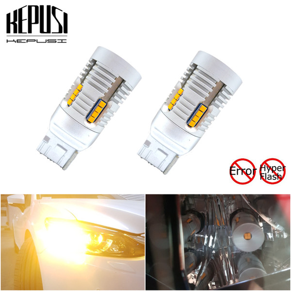 no resistor need no hyper flash high power amber yellow 7440 w21w t20 led bulbs for car front or rear turn signal lights canbus (507498976) photo