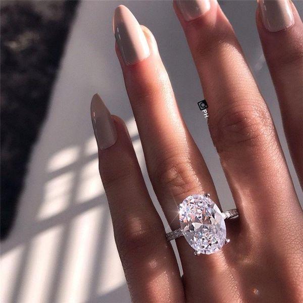 2019 новых женщин Обручальные кольца Мода серебро драгоценных камней Кольца обручальные ювелирные изделия Имитация бриллиантовое кольцо для свадьбы фото