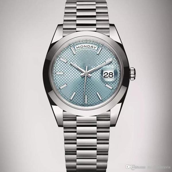 Сапфир часы мужчину автоматических DayDate Синего лицо из нержавеющей стали часов мужских механик оригинальной застежка мужских watches1 фото