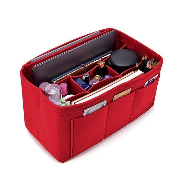 women felt cosmetic bag handbag organizer insert multifunctional travel makeup organizer inner purse fit various bags (483196899) photo