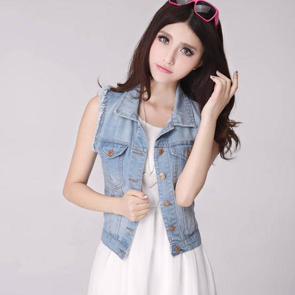 New women Short Jeans Jacket Sleeveless Denim Summer Coat Outerwear Women Jackets 7WJ004