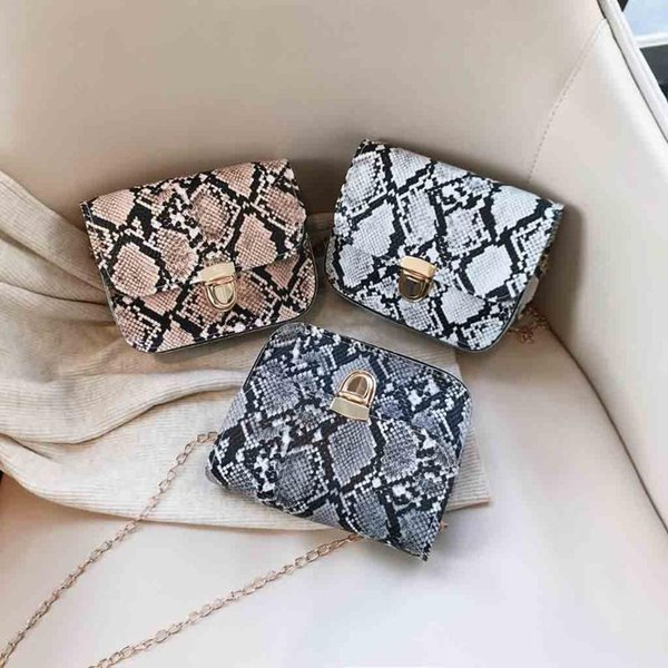 women snake pattern hasp flap small square shoulder crossbody bags for girl chain messenger bag ladies purse bolso mujer (520391254) photo
