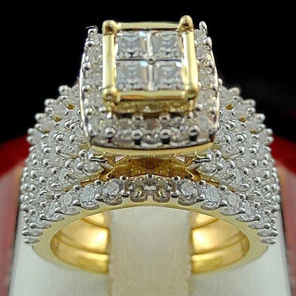 18k Golden Diamond Princess Square Ring Luxury Engagement Anillos De Ring Bague Etoile Set Bizuteria Diamante For Women Men Ring J190704